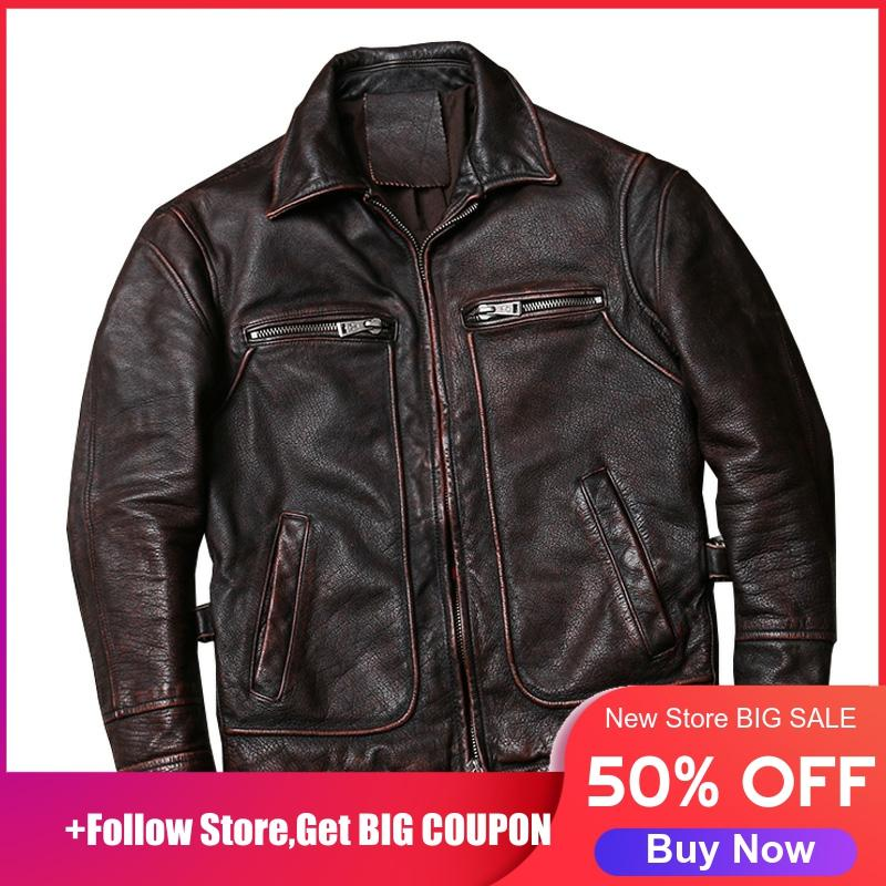 2020 Vintage Brown American Casual Style Leather Jacket Large Size XXXXXL Genuine Cowhide Autumn Leather Coat FREE SHIPPING