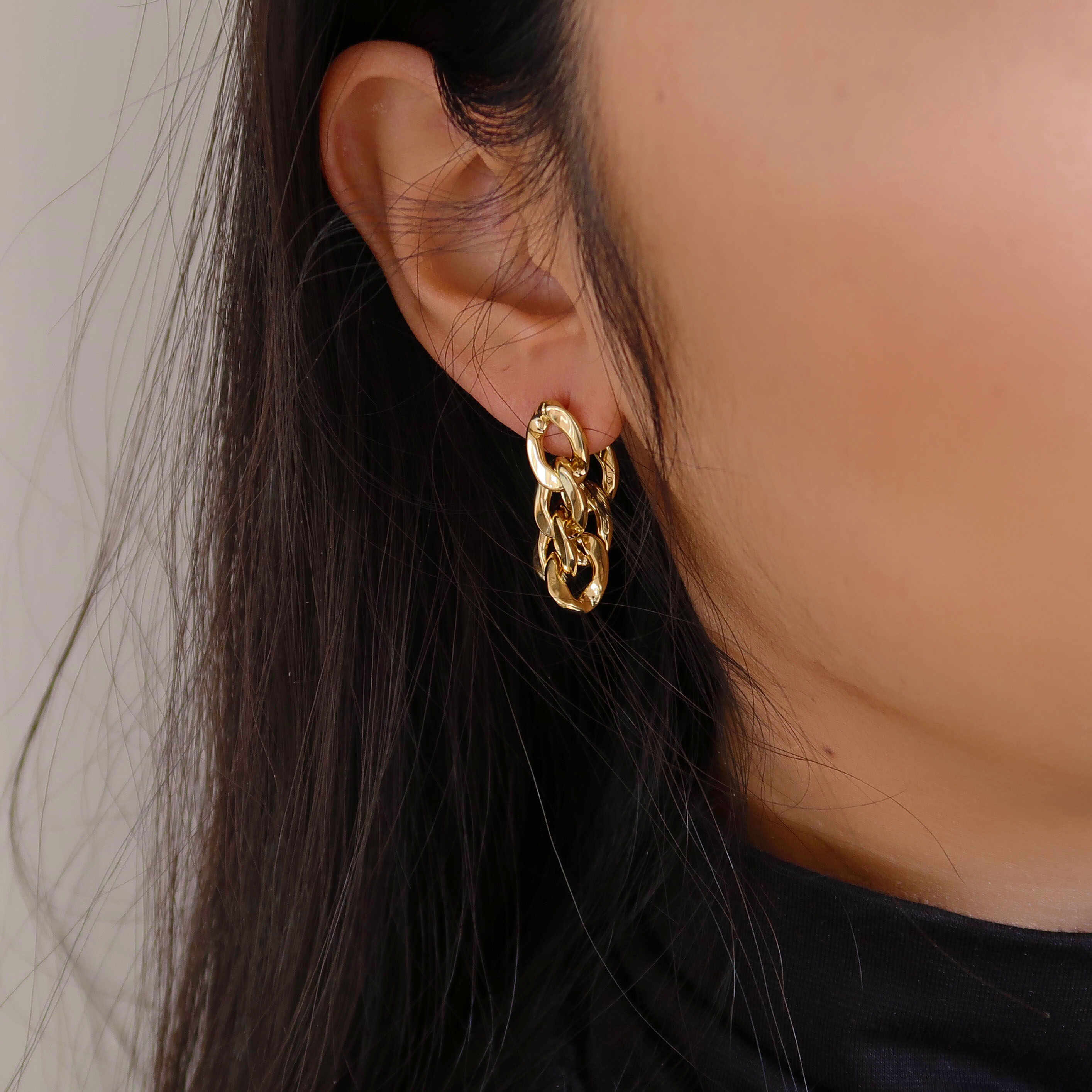 Gift For Her Fashion Jewellery Unique Jewellery Gold Stud Earrings Long Gold Triangle Earrings Shiny