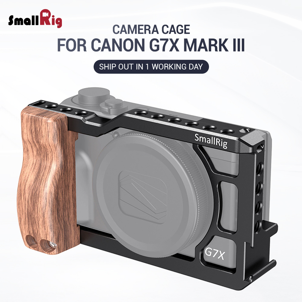 SmallRig Cage For Canon G7X Mark III Feature W/ Wood Grip 1/4 Thread Holes & Shoe Mount For Microphone Attach Vlogging Rig 2422
