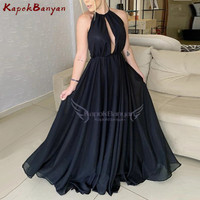 Black Split Bust Halter Backless A line Prom Dress Sweep Train Formal Evening Party Gown