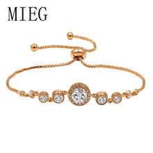 MIEG Brand Halo Round Cut Cubic Zirconia CZ Crystal Bolo Bracelets for Women in Adjustable Size
