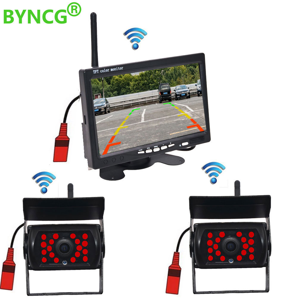 "2 X Wireless Rear View Backup Camera Night Vision 7/"" Monitor For RV Truck Bus"