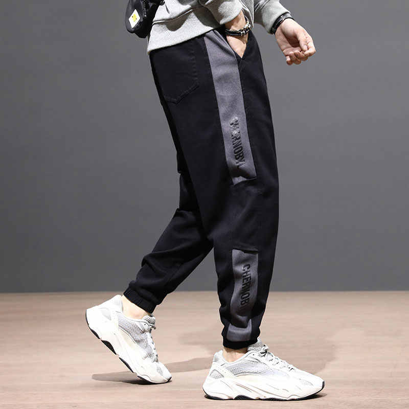 Fashion Streetwear Mannen Jeans Losse Fit Zwart Denim Cargo Broek Side Streep Designer Slack Bottom Hip Hop Jeans Mannen joggers