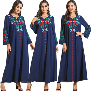 Fashion Abaya Muslim Women Floral Embroidery Long Maxi Dress Kaftan Dubai Jilbab Turkish Caftan Islamic Clothing Robe Plus Size