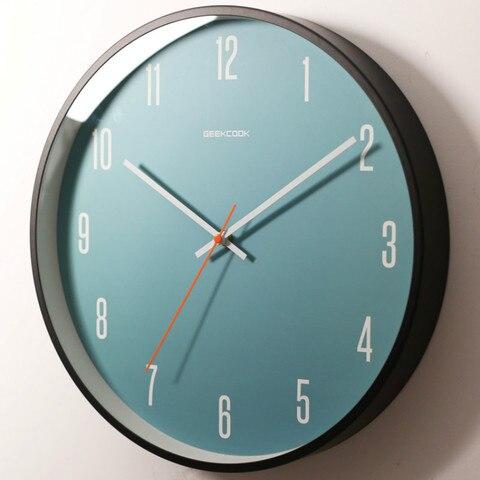 Relógio de Parede Decoração da Casa Moderno Madeira Azul Sala Estar Quarto Nordic Criativo Relógios Cozinha Relógio Casa Presente Sc639