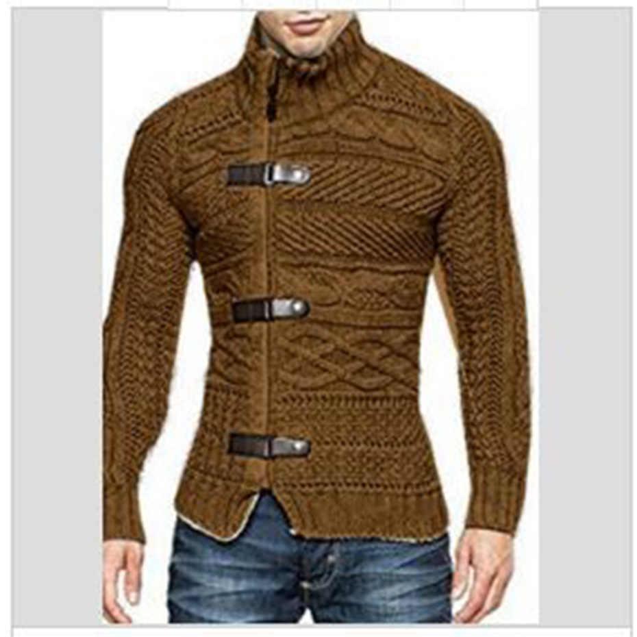 ZOGAA Herbst Winter Herren Pullover Mantel Lässig Warme Pullover Strickjacke Männer Solide Rollkragen Slim Fit Stricken Dicke Kleidung Pullover