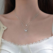 925 Sterling Silver Color O-Chain Double Layer Exquisite Butterfly Pendant Choker Necklace Wedding Gift For Women Fine Jewelry
