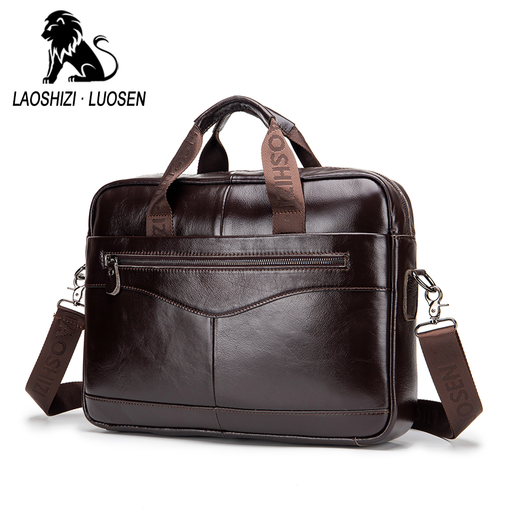 Fashion Genuine Leather Men's Briefcase Vintage Cow Leather Business Computer Bag Messenger Bags Man Shoulder Bag Postman Male