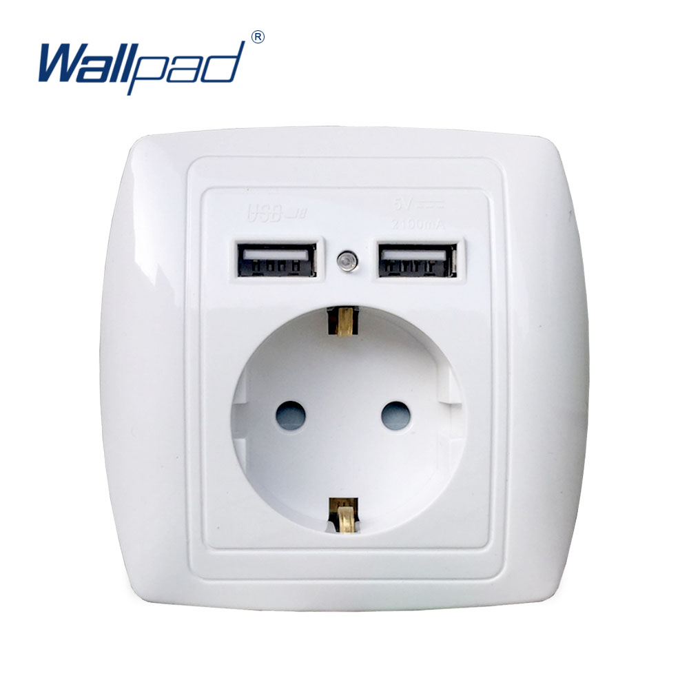 Dual USB Port Wall Charger Adapter Charging 2A Wall Charger Adapter EU Plug Socket Power Outlet White