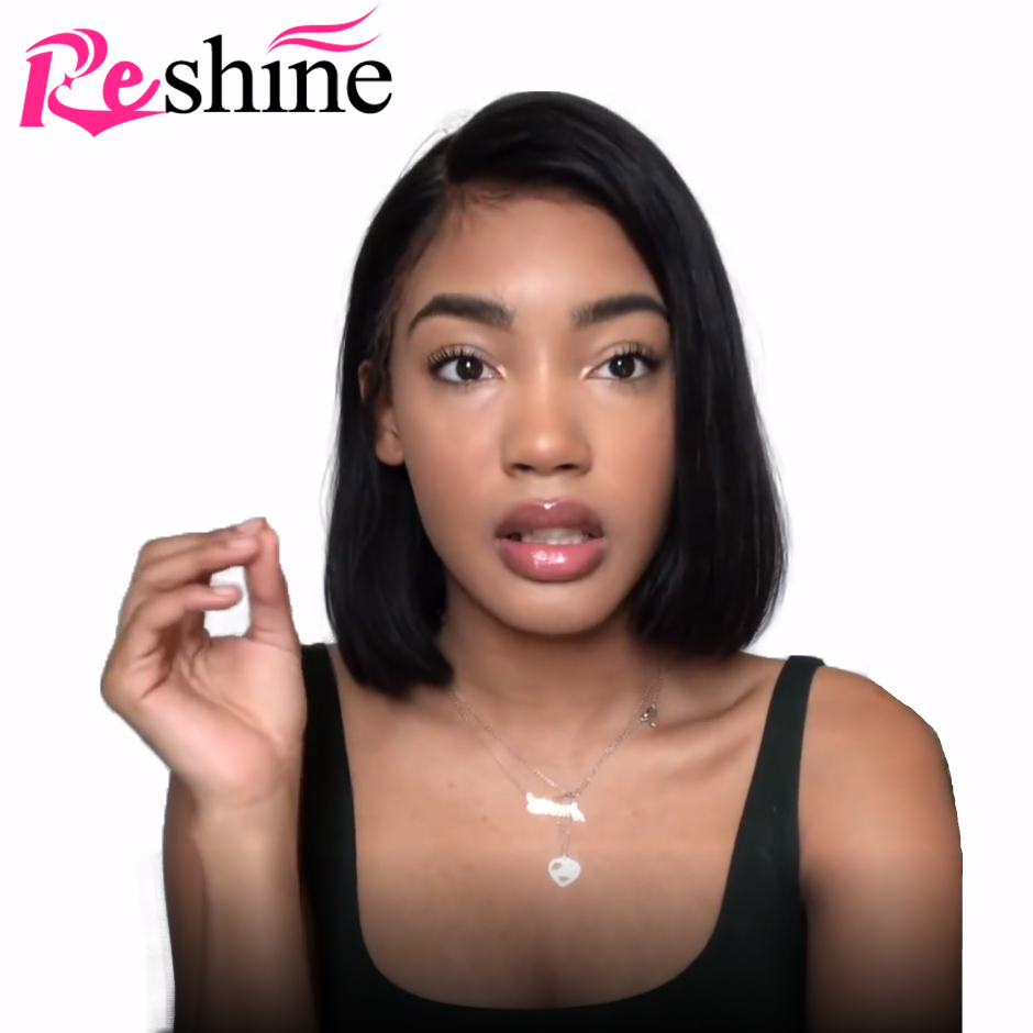 Straight Short Human Hair Wigs For Women 150% Density Straight Bob Lace Front Wigs Reshine Brazilian Lace Front Human Hair Wigs