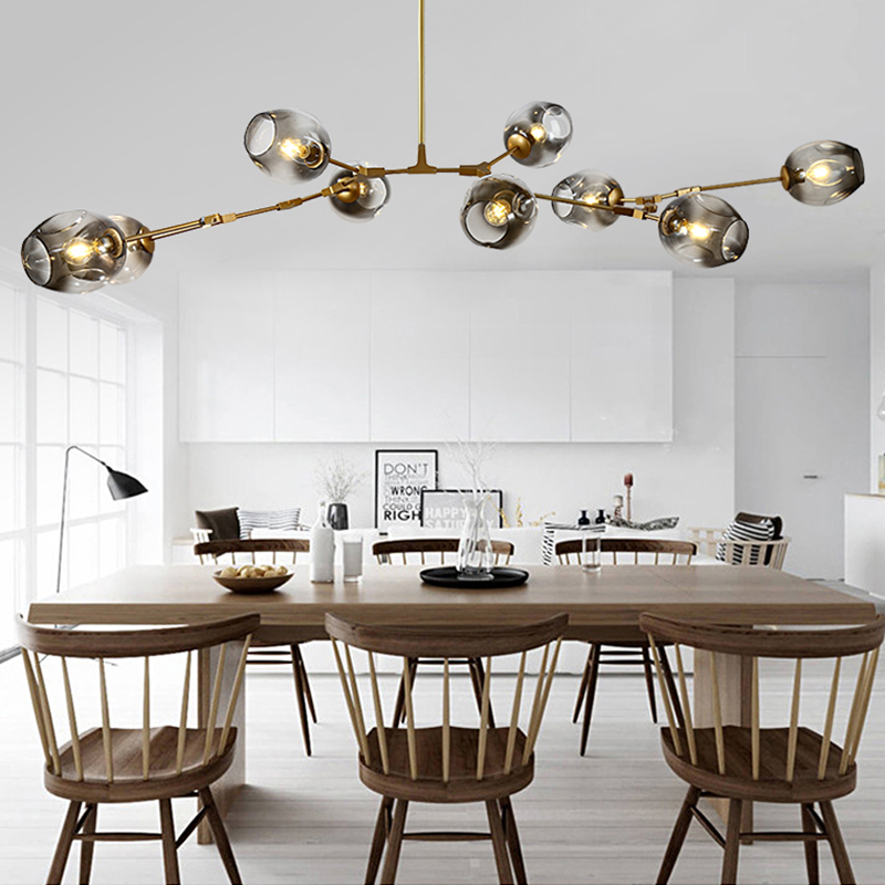 Nordic Glass Ball Chandelier Lighting Modern Chandeliers Ceiling LOFT for Living Room Bedroom Hanging Lamp Kitchen Home Lustre
