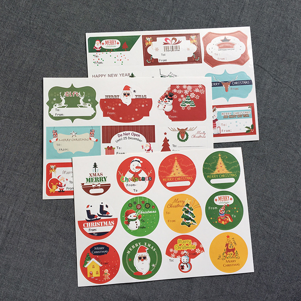 Купить с кэшбэком 10 sheets Christmas Sticker Santa Claus Christmas Tree Deer Cake Packaging Sealing Label Kraft Sticker Baking DIY Gift Stickers