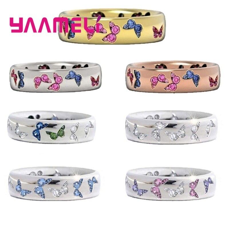 Nuevo Anillo de plata esterlina 925, anillo creativo con incrustaciones de mariposa de cristal CZ, diseño de banda de boda, anillos de Venta caliente para mujeres en venta