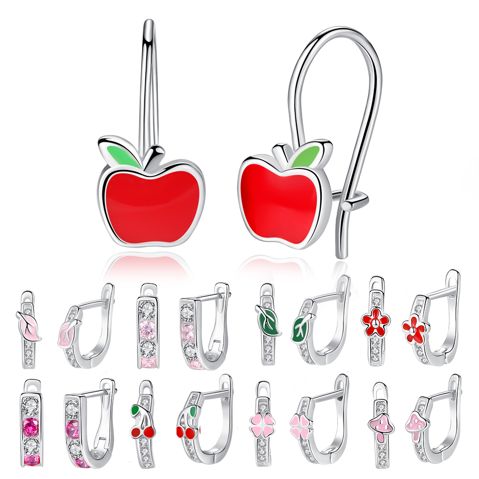 100% 925 Sterling Silver Kids Earrings Crystal Enamel Clover Flower Apple Small Stud Earrings for Girls Children Fashion Jewelry