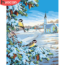 HUACAN Pictures By Numbers Snow Landscape Art DIY Digital Oil Painting Winter Scenery Canvas Living Room