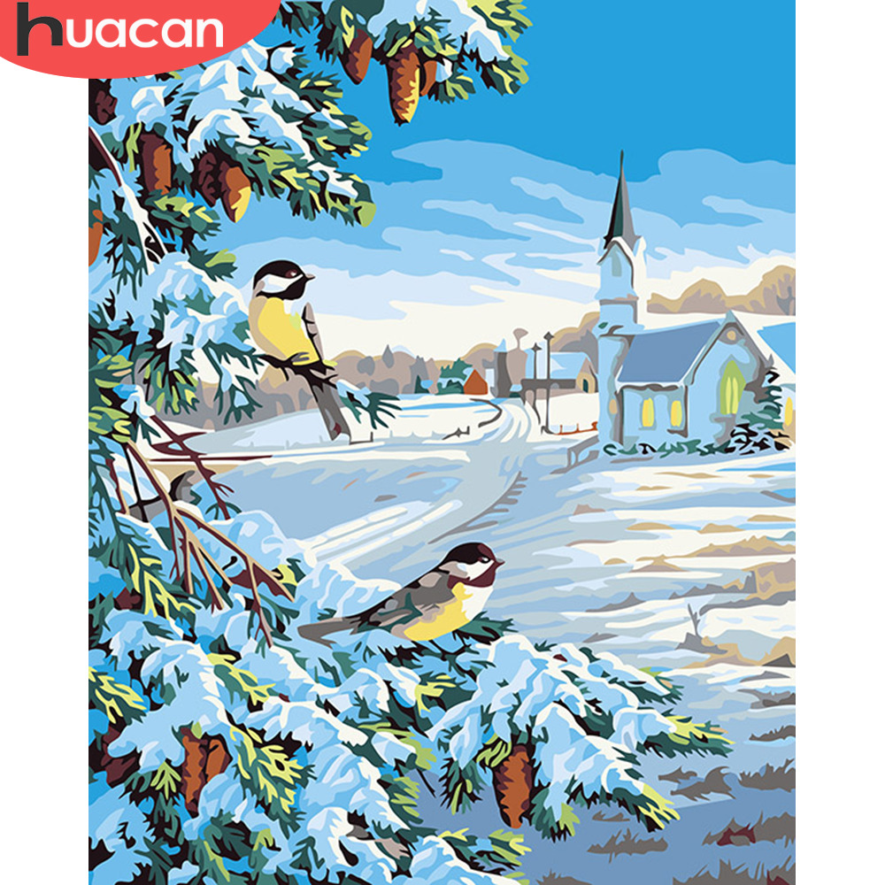 HUACAN Pictures By Numbers Snow Landscape Art DIY Oil Painting By Numbers Winter Scenery Canvas Painting Living Room