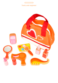 Toy Woo Wooden Toy Girls Baby Pretend Play House Simulation Toys Suit Cosmetics Bag Toys Educational Girls Gift baby toys japan strawberry wooden medicine cabinet toys children simulation doctors toys pretend play educational toys gift