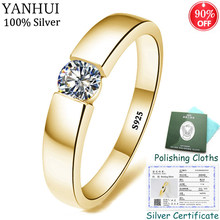 YANHUI With Certificate 100% Original 925 Solid Silver Ring For Women and Men 1 Carat Cubic Zirconia Wedding Rings With Gift Box(China)
