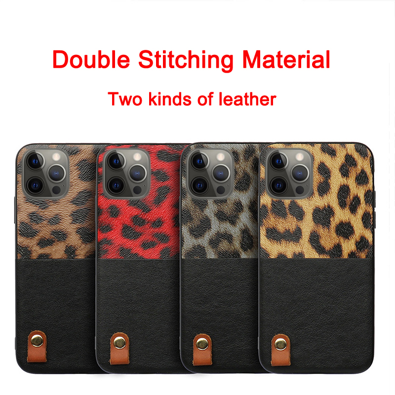 Leopard Pattern Stitching Leather Shockproof Soft Case for iPhone 12 Pro