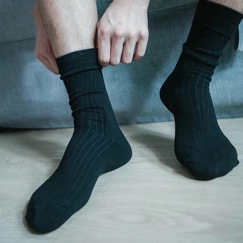 Men's Fashion Accessories Black Strip Cotton Socks Formal Suits Socks Business Gentleman Daily Wear Casual Men's Socks