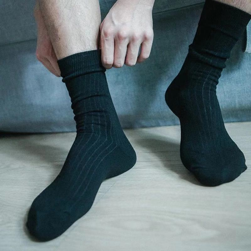 Men's Fashion Accessories Black Strip Cotton Socks Formal Suits Socks Business Gentleman Daily Wear Casual Men's Socks