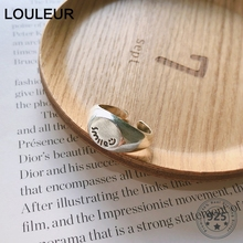 LouLeur Real 925 Sterling Silver Smile Letter Rings Minimalist Casual Office Party for Women Fashion Fine Jewelry Gifts