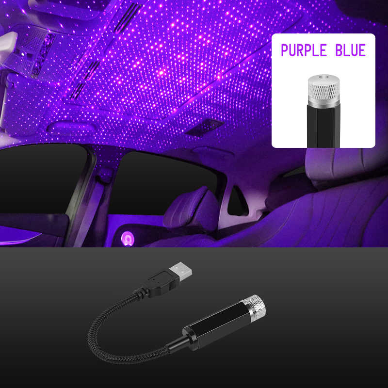 Red and Blue Purple 2 USB Atmosphere Lights Various Modes USB Star Projector Night Light with USB Port Romantic Atmosphere Decoration for Ceiling Car Bedroom Party LED Roof Stars