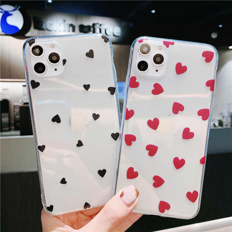 Moskado Liefde Hart Clear Back Cover Voor Iphone 11 X Xr Xs Max Soft Tpu Ingericht Case Voor Iphone 6S 7 8 7Plus Transparante Dot Cover