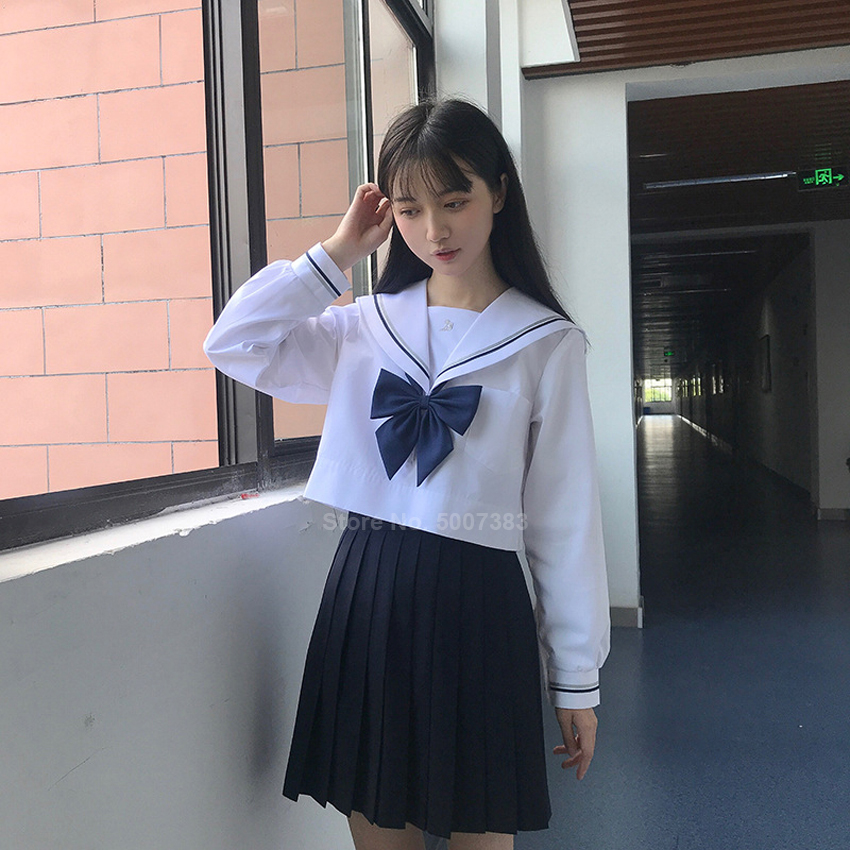 Korean Japanese High School Student Uniform Women Girls JK Suit White Blouse Pleated Knee Length Skirt Sailor Costume Navy Suit