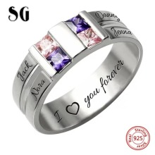 Authentic 925 Sterling Silver Personalized engraved 4 Name 4 birthstone finger Rings for Women custom wedding Jewelry