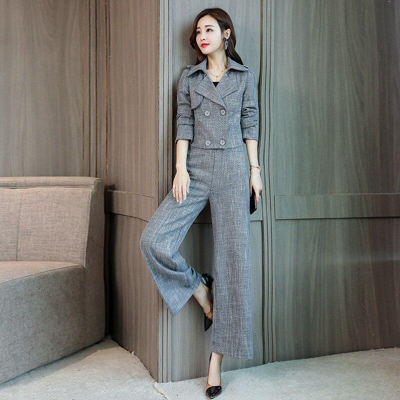 Autumn New Elegant Double-Breasted Blazer Women Two Piece Set Fashion 2020 Office Lady Slim Fit Wide Leg Pants Set Gray M-2XL