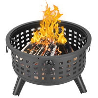 26 inch Round Lattice Fire Bowl Black Camping Hiking Round Fire Bowl Portable Wood Burning Patio Firepit Round Grid Brazier