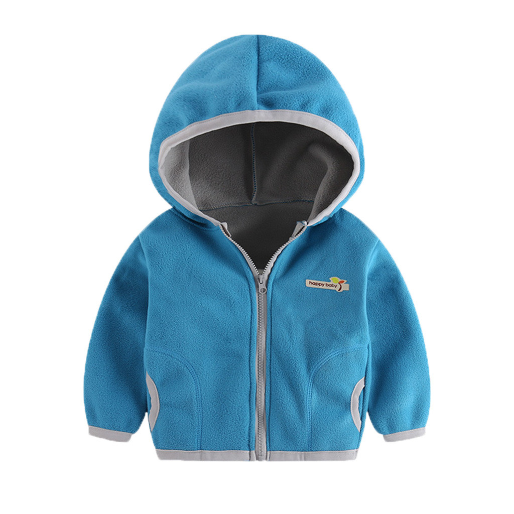 Baby Coat Sweatshirt Jacket Hooded Winter Outwear Girl Autumn Toddler Kid Letter title=