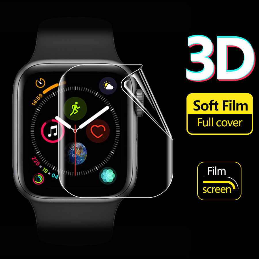 Full Cover Screen Protector untuk Apple Watch Seri 2 38 40 42 44 Mm Hidrogel Film Seri 5 1 2 3 4 Silikon Stiker Pelindung