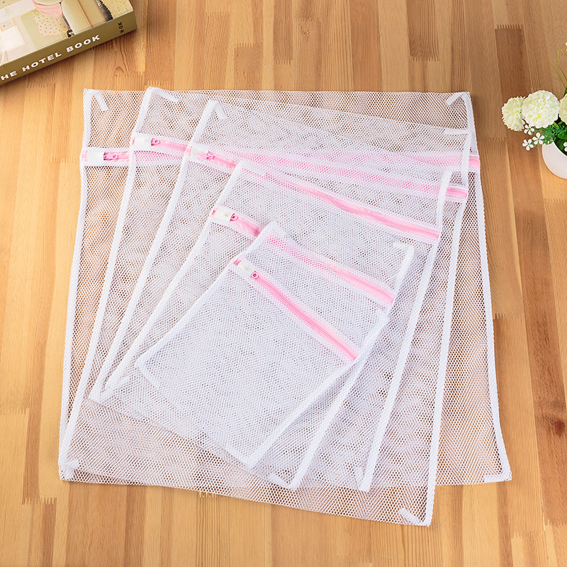 6 Size White Coarse Mesh Laundry Bags For Washing Machines Lingerie Laundry Wash Bags Modern  Polyester Laundry Bag