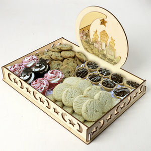 Image 3 - 2020 DIY Wooden Dessert Tray EID MUBARAK Decor for Home Ramadan Decor Pendants Islamic Muslim Party Decor Eid Al Adha