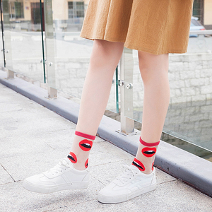 Image 3 - Spring Summer Ultra thin Glass filament Socks Woman Printing Dots Korean Style Silk Socks Cute Stripe Transparent Socks
