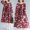 Cotton Linen Long Sleeve Autumn Dress Print Dot Loose Women Dress Plus Size Vintage Dress Female Spring Casual Midi Dress 2