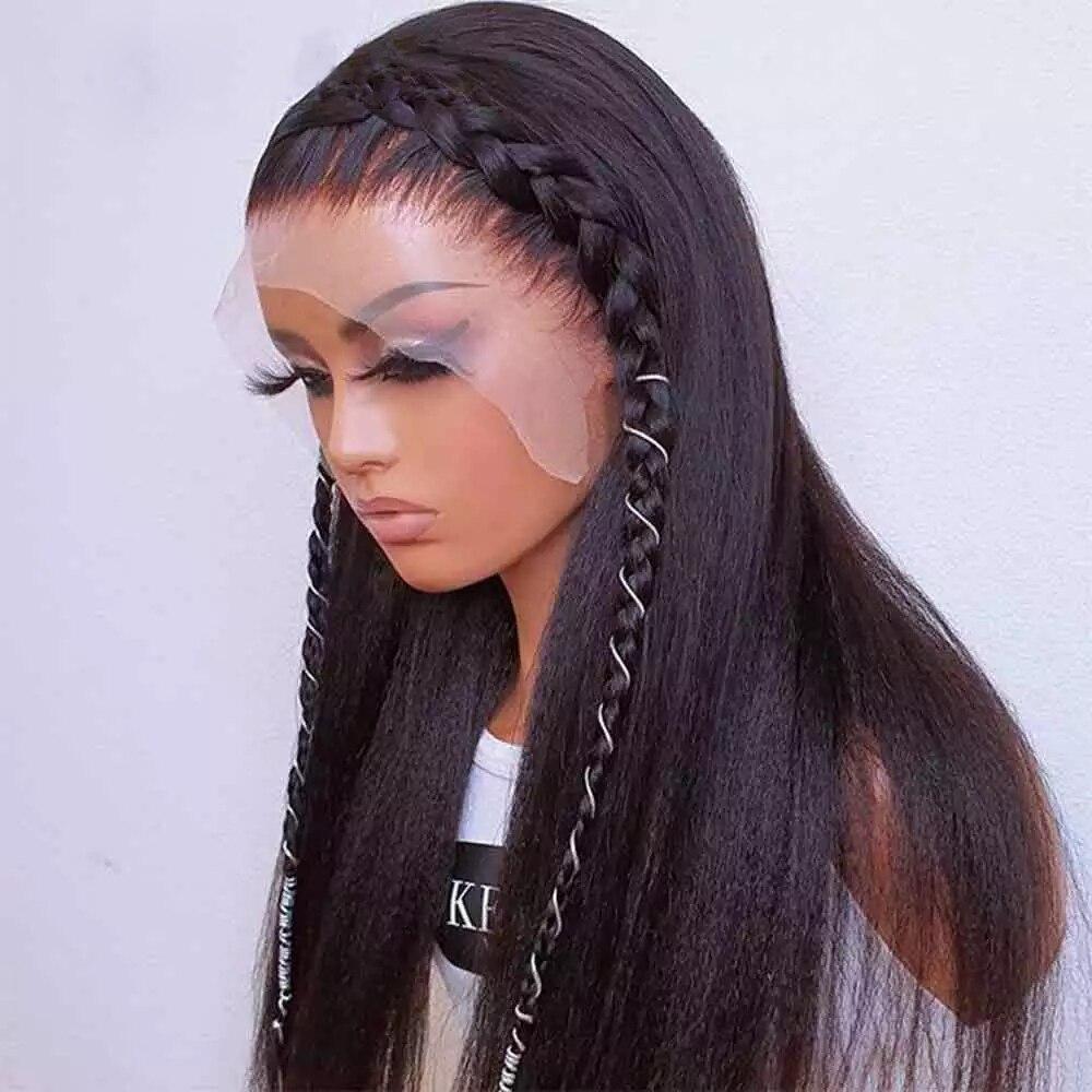 Парики из натуральных синтетических длинных волос без клея Yaki, парики из термостойкого волокна для черных женщин
