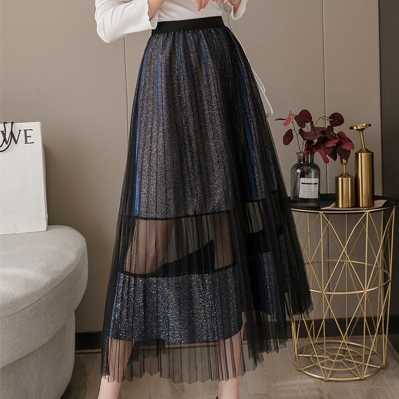 Korean Fashion Skirts Womens Woman High Waist Long Skirt Women Pleated Skirt Faldas Mujer Moda Woman Sequin Mesh Skirts Harajuku