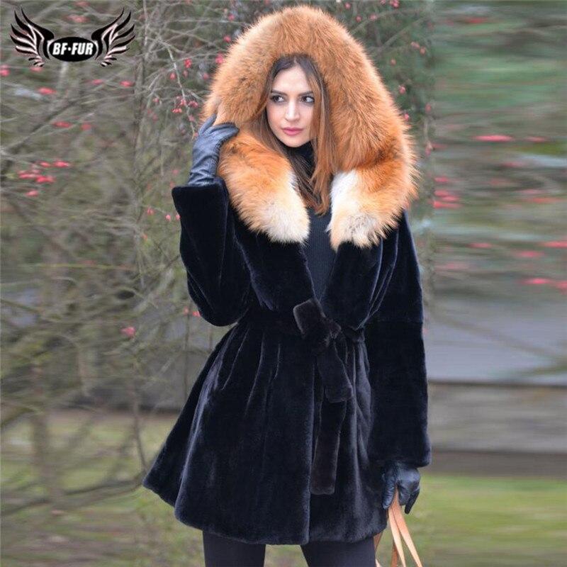 Mode noir réel Rex manteau de fourrure de lapin avec grand renard rouge fourrure capuche hiver femmes chaud véritable longue fourrure de lapin veste avec ceinture de fourrure