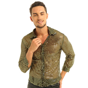 Image 2 - Mens Tuxedo Shirts Shiny Sequins See Through Mesh Long Sleeve Clubwear for Night Party Show Dancing Performance Top Shirt