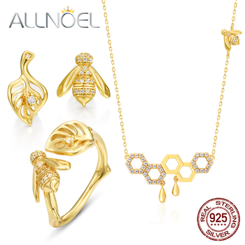 ALLNOEL 925 Sterling Silver Jewelry Set 5A White Zirconium 9K Gold Necklace Earring Ring Set For Women Engagement Fine Jewelry