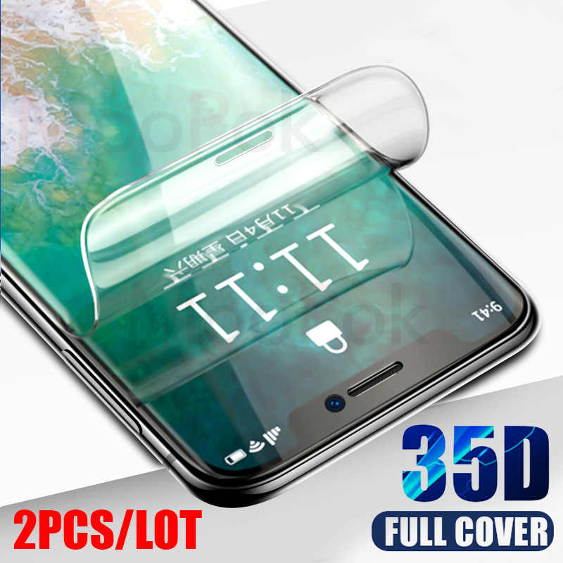 3 piezas 35D hidrogel de película para iPhone 7 7 Plus 6 6s Plus Protector de pantalla de iPhone X XS X XR película protectora suave XS Max 11 Pro Max
