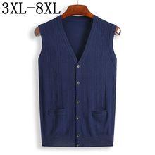 Размер 8XL 7XL зимний толстый теплый кардиган жилет мужские кашемировые свитера шерстяной пуловер для мужчин брендовые Кардиганы без рукавов с v-образным вырезом