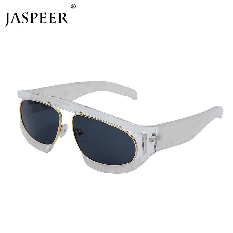 JASPEER Sunglasses Men Women Vintage Sunglasses Black Lens <font><b>2020</b></font> New Transparent Frame Sunglasses Lady Goggles Glasses image