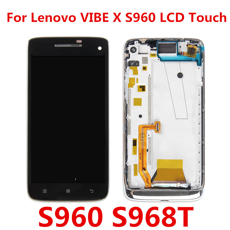 LCD Screen Mobile Phone and Digitizer Full Assembly for Lenovo Vibe X S960 Color : Black Black