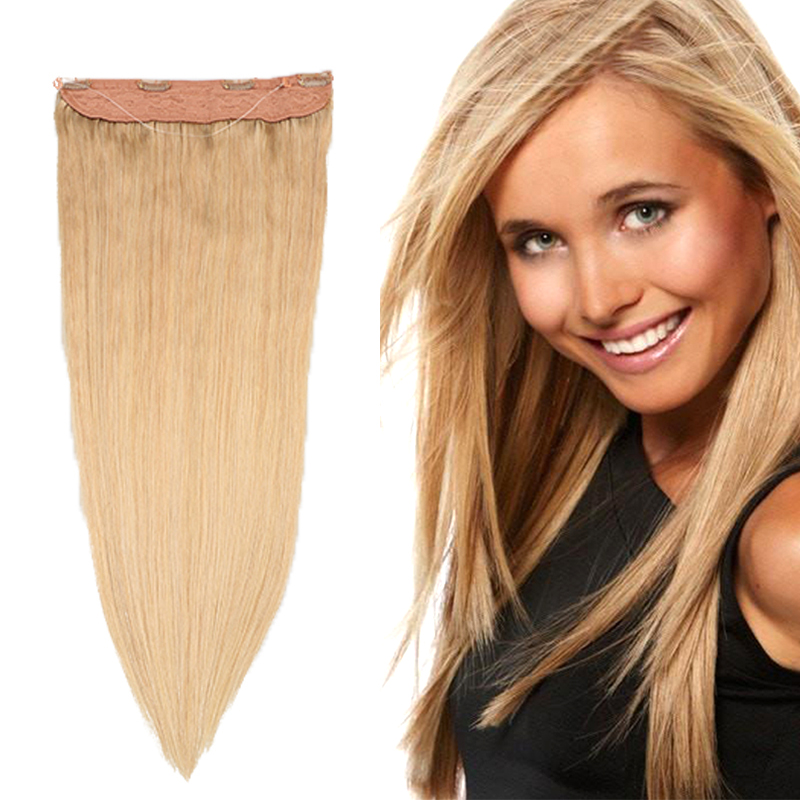 Toysww Flip In Hair Extensions Machine Made Remy European Human Hair Extensions #27 Color Halo Hair 70-85GPack