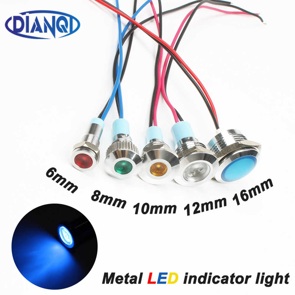 6mm 8mm 10mm 12mm 16mm Metal LED indicador de advertencia luz impermeable IP67 señal lámpara piloto cables interruptor 3V 5V 12V 220V rojo azul