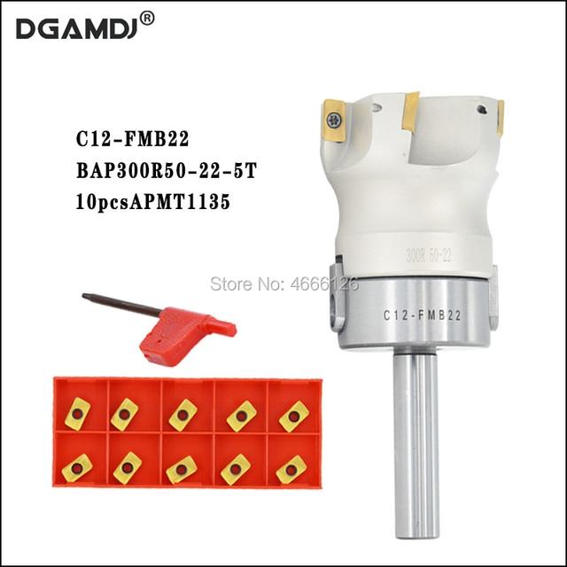 1set C12 FMB22 عرقوب + BAP300R 50 22 الوجه القابلة للفهرسة قاطعة الطاحونة 5 المزامير Endmill الكتف الزاوية اليمنى لإدراج APMT1135